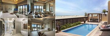 Saadiyat Rotana Resort & Villas, (clockwise from top left): One Bedroom Beach Villa Master and Lounge, Two Bedroom Beach Villa Terrace and Pool Area, Second Bedroom and Bathroom
