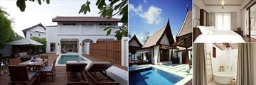 SALA Samui Resort & Spa, (clockwise from left): One Bedroom Duplex Pool Villa, Two Bedroom Pool Villa, One Bedroom Pool Villa and Deluxe Balcony Bathroom