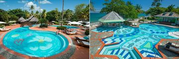 Sandals Halcyon Beach St. Lucia, Pools and Swim-Up Pool Bars
