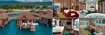 Overwater Honeymoon Villa (far left and bottom left), Beachfront Deluxe Room (top left), Italian Beachfront One Bedroom Butler Suite (top right) and Italian Beachfront Butler Walkout Suite