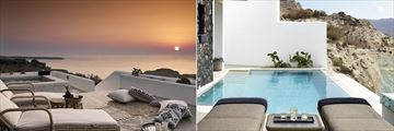 Deluxe Suite Sunset Sea View and Exclusive Sunset Suite at Santo Maris Oia Luxury Suites & Spa