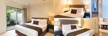 Sea Spray Suites, (clockwise from left): One Bed Deluxe Bedroom, One Bed Premium Bedroom and Two Bed Premium Bedroom