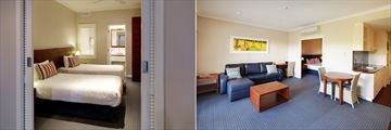 Seashells Yallingup Resort, One Bedroom Apartment Bedroom and Living Area