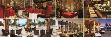 Secrets Maroma Beach Riviera Cancun, (clockwise from top left): Bordeaux, Bordeaux Wine Cellar, Himitsu, Oceana, World Cafe and Seaside Grill