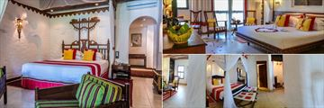 Serena Beach Resort & Spa, (clockwise from left): Luxury Suite, Prime Suite and Lamu Suite