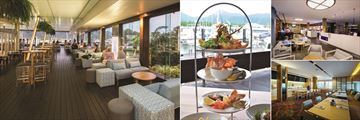 Shangri-La Hotel The Marina, Cairns, (clockwise from left): North Bar & Kitchen, Seafood Tower, North Bar & Kitchen and Horizon Club Lounge