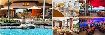 Sheraton Kona Resort & Spa at Keauhou Bay, (clockwise from left): Holua Poolside Bar, Koasi Lounge Buffet, Rays On The Bay Bar, Rays On The Bay Dining and Ainaki Restaurant
