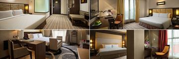 Silk Path Hanoi, (clockwise from top left): Deluxe Bedroom, Executive Bedroom, Premium Executive Bedroom and Presidential Suite