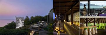 Six Senses Samui, (clockwise from left): Cinema Paradiso, Dining On The Rocks Bar, Dining On The Hill and Drinks On The Hill