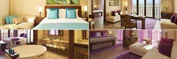 Sofitel Dubai The Palm, (clockwise from top left): Luxury Room, Opera Suite, Junior Suite and Prestige Suite