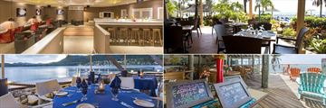 St James's Club & Villas, (clockwise from top left): Jacaranda Lounge, Rainbow Restaurant, Coco Grill and Docksider Restaurant