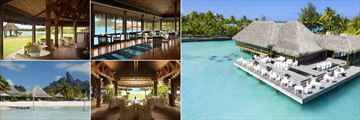 St. Regis Bora Bora Resort, (clockwise from top left): Aparima Bar, Lagoon Restaurant by Jean-Georges Interior, Exterior, Te Pahu Restaurant Interior and Exterior View from the Beach