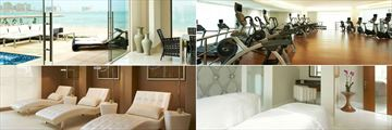 St. Regis - Doha, (clockwise from top left): Private Cabanas, The Exercise Room, Remede Spa Couples Treatment Room and Remede Spa Relaxation Lounge