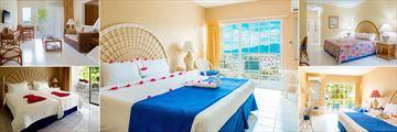 Starfish Grenada Resort, (clockwise from top left): Deluxe Suite, Sea View Room, Hillside Room, Beachfront Room and Premier Room