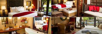 The H Resort Beau Vallon Beach, (clockwise from top left): Garden Junior Suite, Garden Junior Suite, Junior Suite and Junior Suite Bathroom