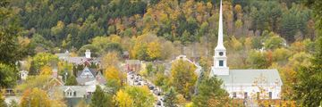 Aerial view of Stowe, Vermont