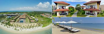 Sun Aqua Pasikudah, Aerial View of Resort, Deluxe Suite Exterior and Beach and Sun Loungers