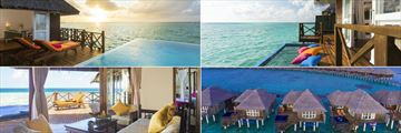 Sun Aqua Vilu Reef, (clockwise from top left): Aqua Suite, Aqua Villa, Reef Villa and Grand Reef Suite