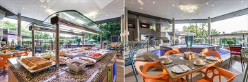 Sun City Cabanas, Palm Terrace Restaurant Buffet Area and Palm Terrace Restaurant Dining Area