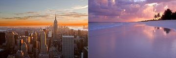 Sunsets over Manhattan and Cancun Beach