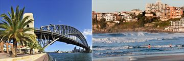 Sydney Harbour Bridge (left), and Bondi Beach (right)