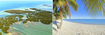 The Florida Keys aerial view and beachfront