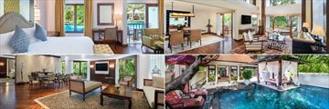 Clockwise from top left: Deluxe Studio Lagoon Access, Deluxe Ocean View Suite, Hibiscus Villa and Deluxe Executive Suite at The Laguna Resort & Spa