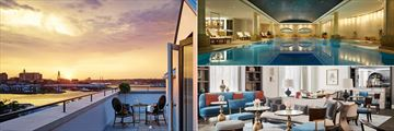 One Bedroom Suite terrace (left), main pool (top right) and Observatory Bar (bottom right) at The Langham Sydney