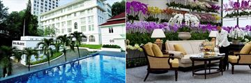 Hotel Facade, Pool and the Orchid Conservatory at The Majestic Hotel Kuala Lumpur