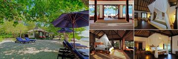 The Menjangan Resort, (clockwise from left): Beach Villa Exterior and View from Bedroom, Monsoon Deluxe, Monsoon Suite and The Residence