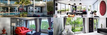 Clockwise from top left: Four Bedroom Villa, Two Bedroom Loft, Garden Suite and Hill View Suite at The Pavilions Phuket