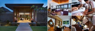The Samaya Seminyak, (clockwise from left): Spa Entrance, Treatment Room, Spa Treatment, Foot Ritual and Beauty Salon