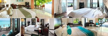 The Sun Siyam Iru Fushi, (clockwise from top left): Beach Villa, Aqua Retreat Villa, Family Deluxe Beach Villa and Water Villa