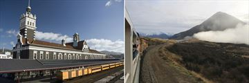 Dunedin (left), and the TranzAlpine train (right)