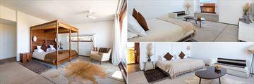 Oriente Room (left), Poniente Room (top) and Family Room (bottom) at Tierra Atacama Boutique Hotel & Spa