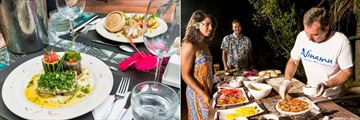 Tikehau Ninamu Resort, Seafood Dishes and Chef Preparing Pizza