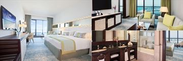 Sea View Room (left and bottom right), and Junior Suite