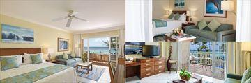 Junior Suite Ocean Front (left), One Bedroom Suite Ocean View (top right), and Junior Suite Ocean View (bottom right)