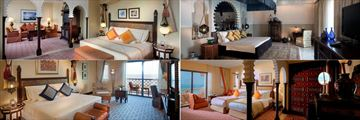 Jumeirah Al Qasr (left to right): Junior Arabian Suite, Ocean Deluxe, Presidential Room and Superior Ocean Suite