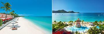 Sandals Grande Antigua beach & Sandals Grande St Lucian main pool