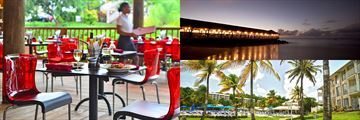 St James Club Morgan Bay, Tree Tops Restaurant, Morgans Pier restaurant, and main pool