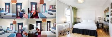 Triton, (clockwise from top left): Full Bedded Room, Queen Room, Grant Avenue Suite, King Room and Double-Double Room