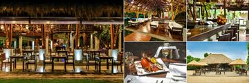 Uga Jungle Beach, (clockwise from left): Restaurant Terrace, Interior and Pool, Bar, Beach Bar and Seafood Dish