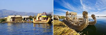 Uros Islands and Lake Titicaca traditional boats