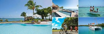 Veranda Paul and Virginie, (clockwise from left): Pool, Pool and Beach, Fishing, Catamaran and Cycling