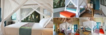 Villa Azura, (clockwise from left): Air Conditioned Bed, Master Bedroom, Bedroom Two and Bedroom Three