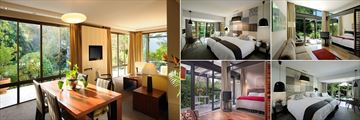 Vineyard Hotel, (clockwise from left): Villa Living Area, Courtyard Standard Room, River Junior Suite, Mountain Deluxe and Junior River Suite