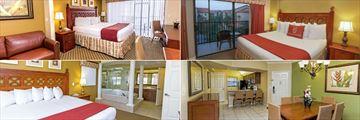 Westgate Lakes Resort & Spa, (clockwise from top left): Three Bedroom Villa, One Bedroom Villa, Two Bedroom Villa Kitchen and Dining Area and Four Bedroom Villa Master Bedroom