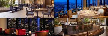 Westin Bonaventure, (clockwise from top left): Lakeview Bistro, LA Prime, Lobby Court and Bonavista Lounge