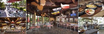 Wyndham Orlando Resort, (clockwise from top left): Gatorville Outdoor Area, Gatorville Dining Room, Hot Breakfast Buffet, Lobby Bar Lounge and Gatorville Bar
